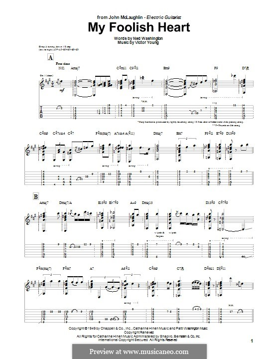 My Foolish Heart: For guitar with tab by Victor Young