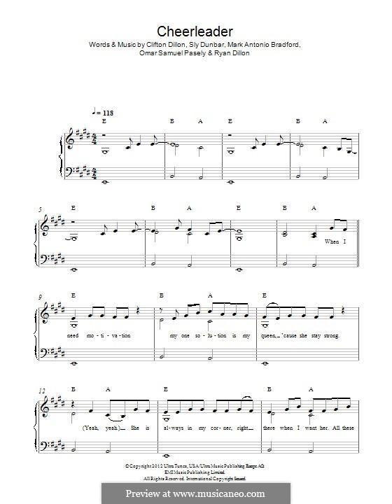 Cheerleader: For piano by Clifton Dillon, Mark Antonio Bradford, Omar Samuel Pasley, Ryan Dillon, Sly Dunbar