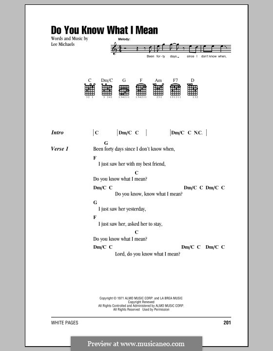 Do You Know What I Mean: Lyrics and chords by Lee Michaels
