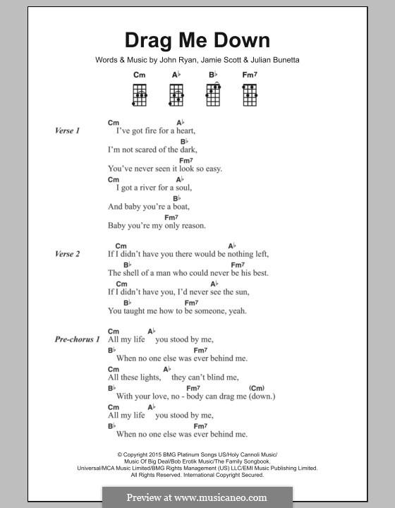 Drag Me Down (One Direction): Lyrics and chords by Julian Bunetta, Jamie Scott, John Henry Ryan