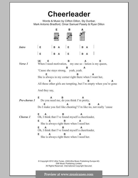 Cheerleader: Lyrics and chords by Clifton Dillon, Mark Antonio Bradford, Omar Samuel Pasley, Ryan Dillon, Sly Dunbar