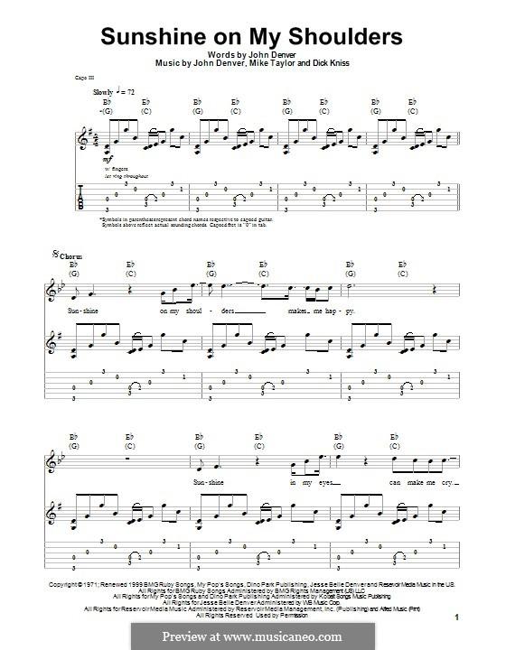 Sunshine on My Shoulders: For guitar by Dick Kniss, John Denver, Mike Taylor