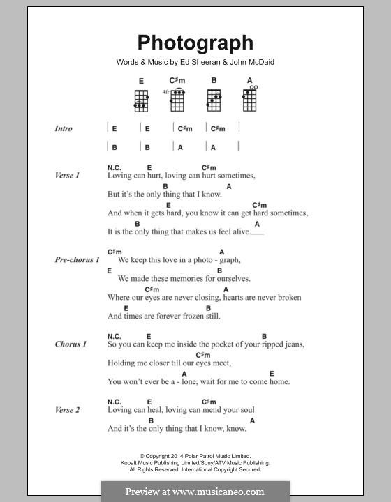 Photograph by E. Sheeran, J. McDaid - sheet music on MusicaNeo