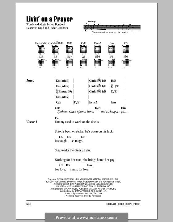 livin on a prayer lyrics pdf