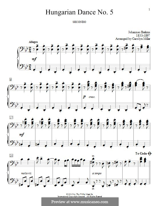 Dance No.5 in F Sharp Minor (Printable scores): For piano by Johannes Brahms