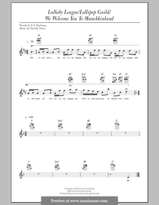 Lullaby League/Lollipop Guild/We Welcome You To Munchkinland (from The Wizard of Oz): For ukulele by Harold Arlen