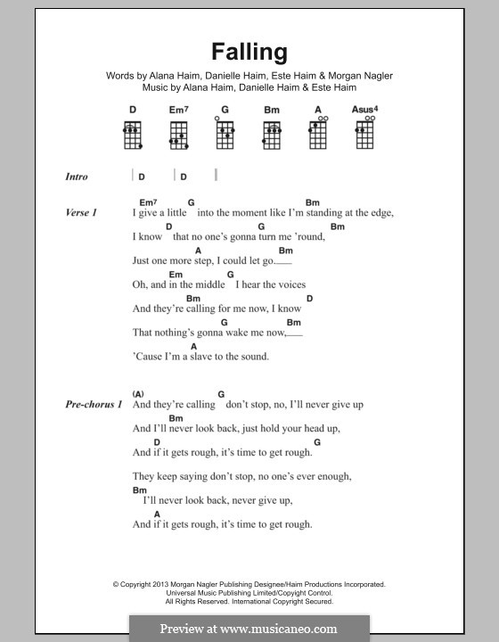 Falling (Haim): Lyrics and chords by Alana Haim, Danielle Haim, Este Haim