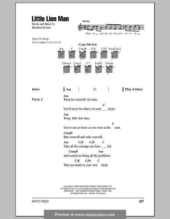 Little Lion Man (Mumford & Sons): Lyrics and chords by Marcus Mumford