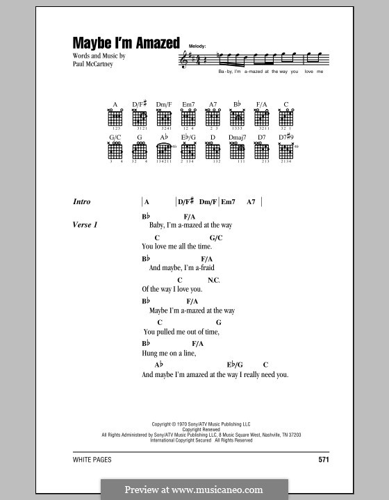 Maybe I'm Amazed: Lyrics and chords by Paul McCartney