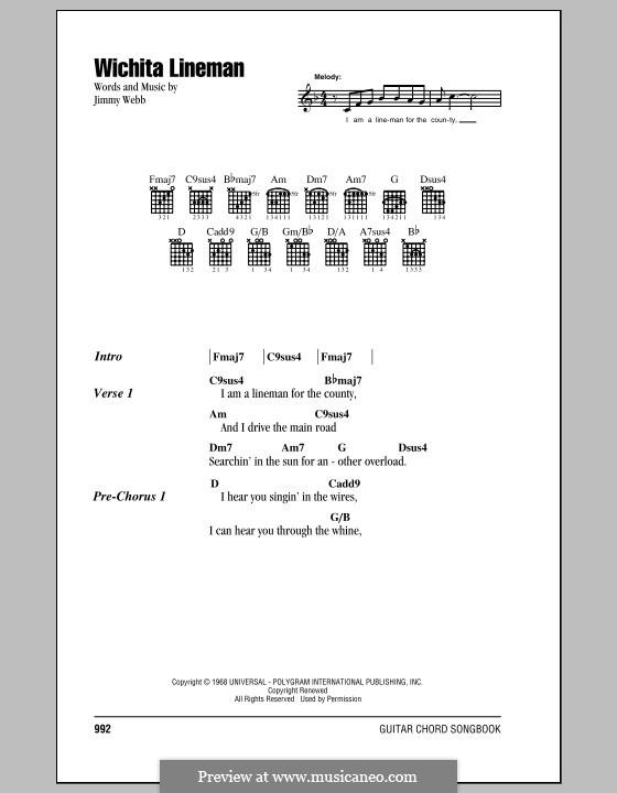 Wichita Lineman: Lyrics and chords by Jimmy Webb