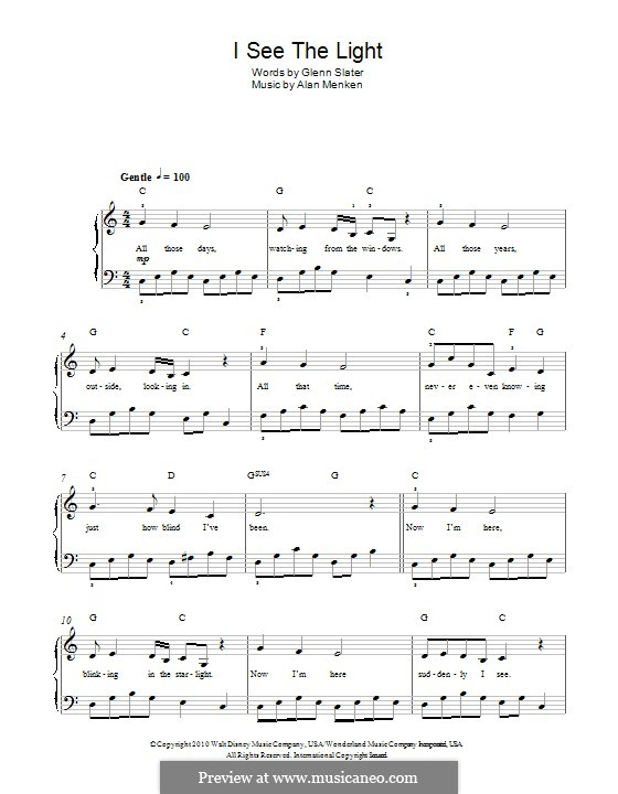 I See the Light: For piano by Alan Menken
