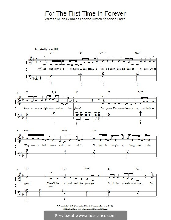 For the First Time in Forever (Kristen Bell & Idina Menzel): For piano by Robert Lopez, Kristen Anderson-Lopez