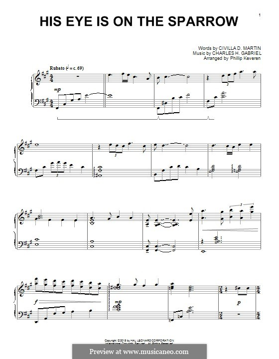 His Eye Is on the Sparrow (Ethel Waters): For piano by Charles Hutchinson Gabriel