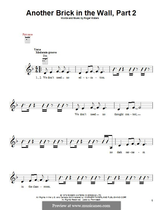 Another Brick in the Wall: Part II, for ukulele by Roger Waters