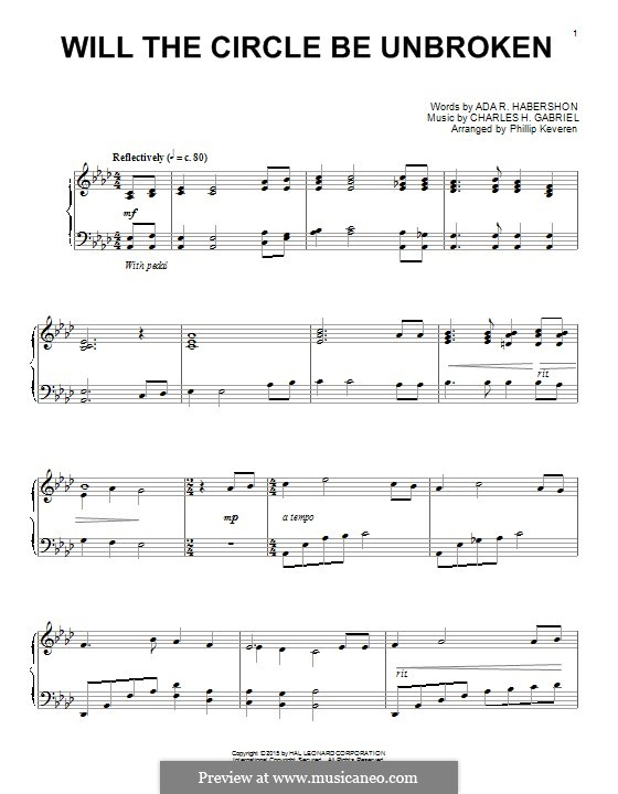 Will the Circle Be Unbroken: For piano by Charles Hutchinson Gabriel