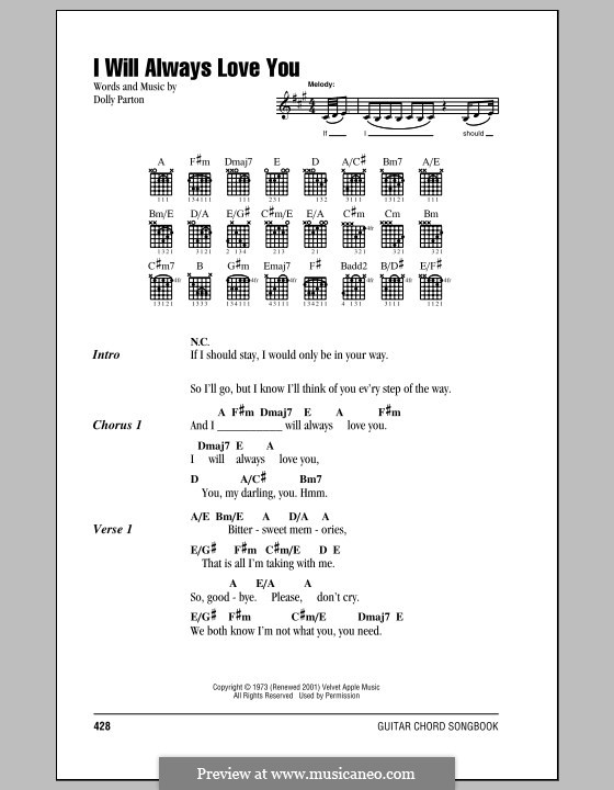 I Will Always Love You (Whitney Houston): Lyrics and chords by Dolly Parton