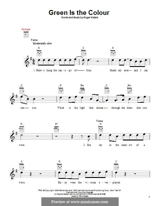 Green is the Colour (Pink Floyd) by R. Waters - sheet music on MusicaNeo