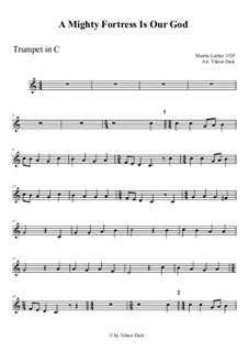 A Mighty Fortress Is Our God: For trumpet in C by Martin Luther