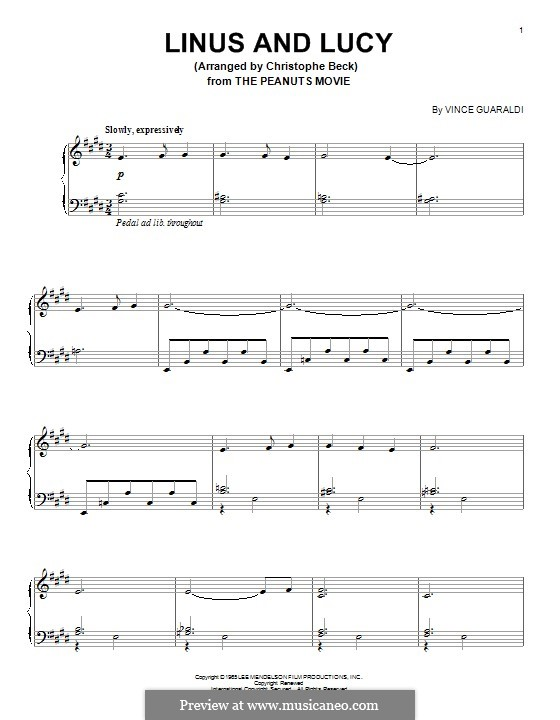 Linus and Lucy (from A Boy Named Charlie Brown): For piano by Vince Guaraldi