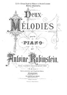 Two Melodies, Op.3: Complete set by Anton Rubinstein