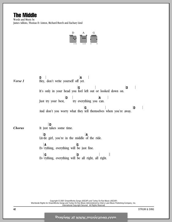 The Middle (Jimmy Eat World): Lyrics and chords by James Adkins, Richard Burch, Thomas D. Linton, Zachary Lind