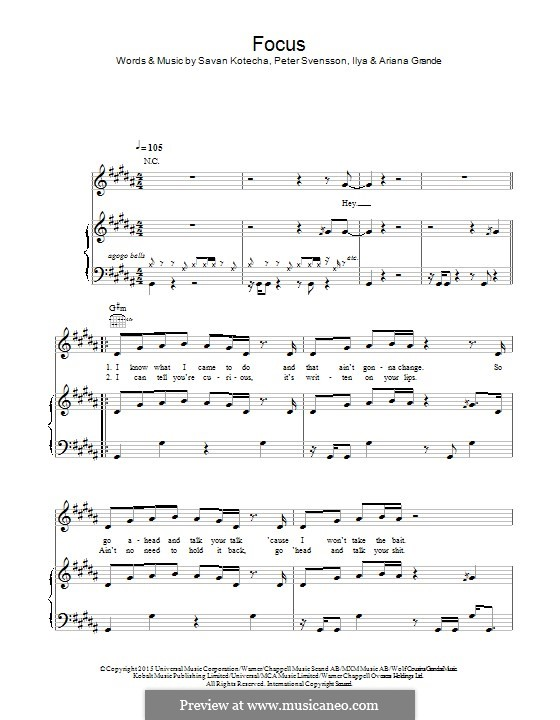 Focus: For voice and piano (or guitar) by Peter Svensson, Savan Kotecha, Ariana Grande, Ilya