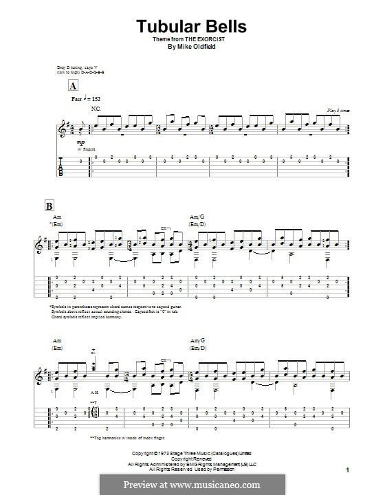 Tubular Bells (from The Excorcist): For guitar with tab by Mike Oldfield