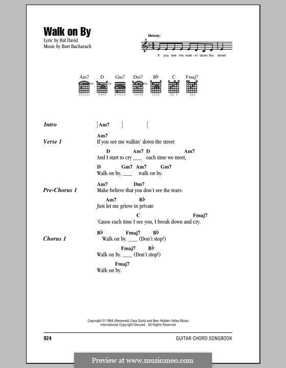 Walk on By by B. Bacharach - sheet music on MusicaNeo