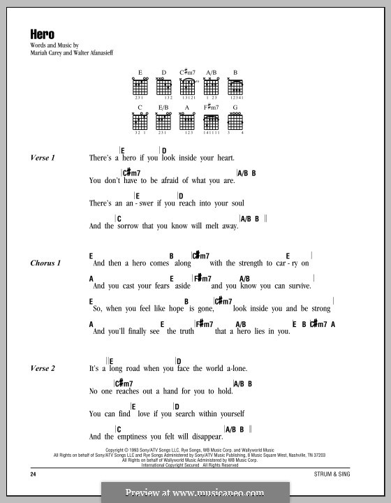 Hero: Lyrics and chords by Mariah Carey, Walter Afanasieff