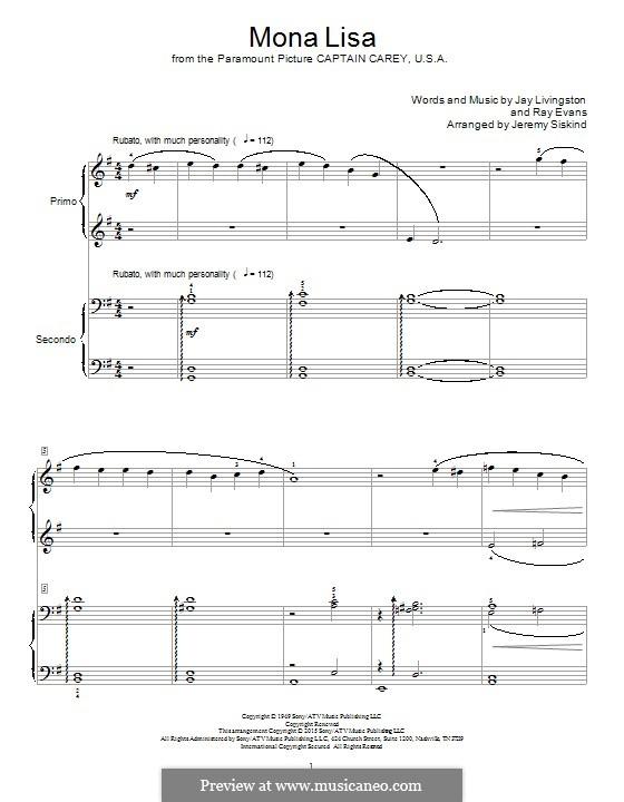 Mona Lisa (Nat King Cole): For piano by Jay Livingston, Raymond Evans