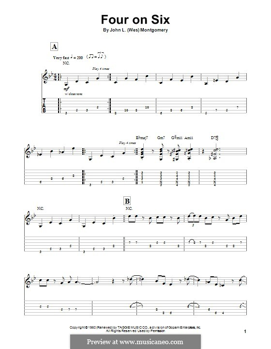 Four on Six: For guitar with tab by Wes Montgomery