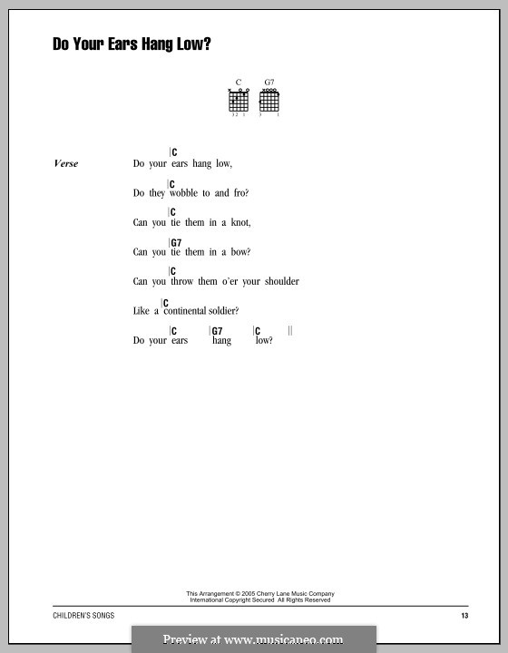 Do Your Ears Hang Low?: Lyrics and chords by folklore