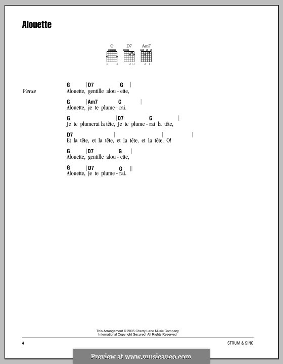 Alouette: Lyrics and chords by folklore