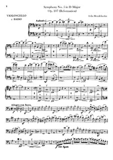 Symphony No.5 in D Major 'Reformation', Op.107: Cello and double bass part by Felix Mendelssohn-Bartholdy