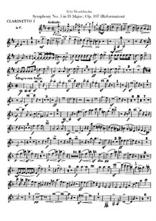 Symphony No.5 in D Major 'Reformation', Op.107: Clarinets parts by Felix Mendelssohn-Bartholdy