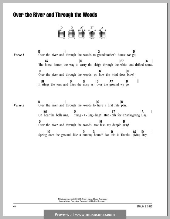 Over The River And Through The Woods By Folklore Sheet Music On