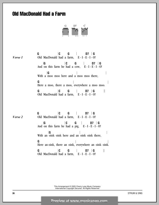 Old MacDonald Had a Farm: Lyrics and chords by folklore
