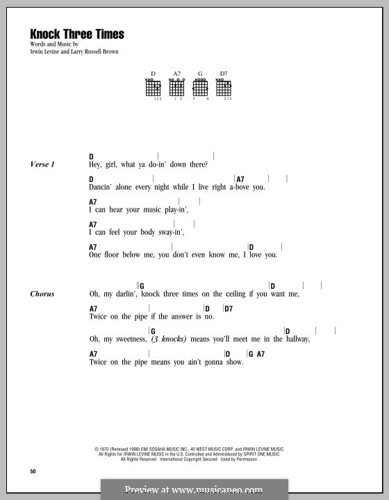 Knock Three Times (Dawn): Lyrics And Chords By Irwin Levine, L.