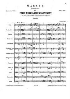 March in D Major for Orchestra, Op.108: Full score by Felix Mendelssohn-Bartholdy