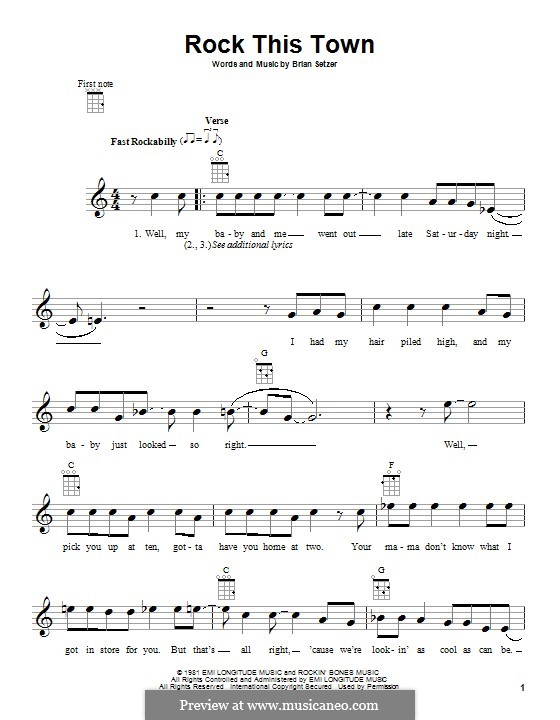 Rock This Town (Stray Cats): For ukulele by Brian Setzer