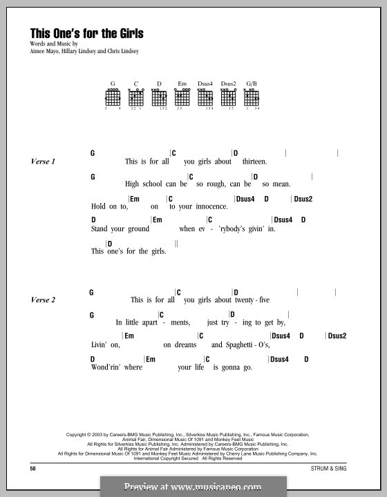 This One's for the Girls (Martina McBride): Lyrics and chords by Aimee Mayo, Chris Lindsey, Hillary Lindsey