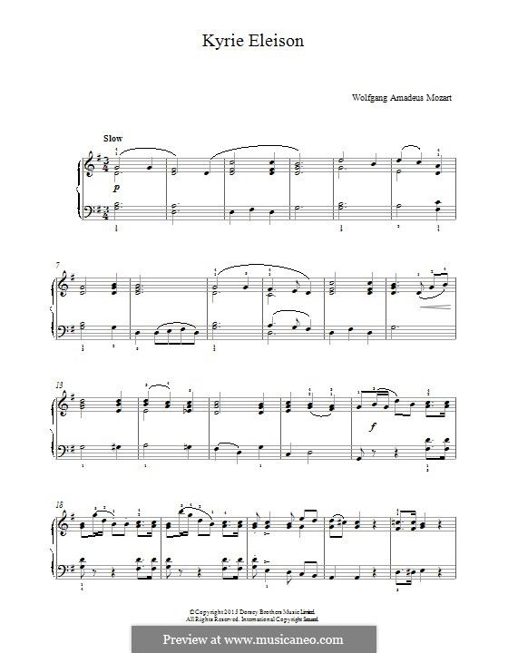 Mass No.12 in C Major (Missa brevis No.8) 'Organ Solo', K.259: Kyrie Eleison, for piano by Wolfgang Amadeus Mozart