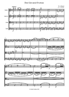 Overture: For string quartet by Wolfgang Amadeus Mozart