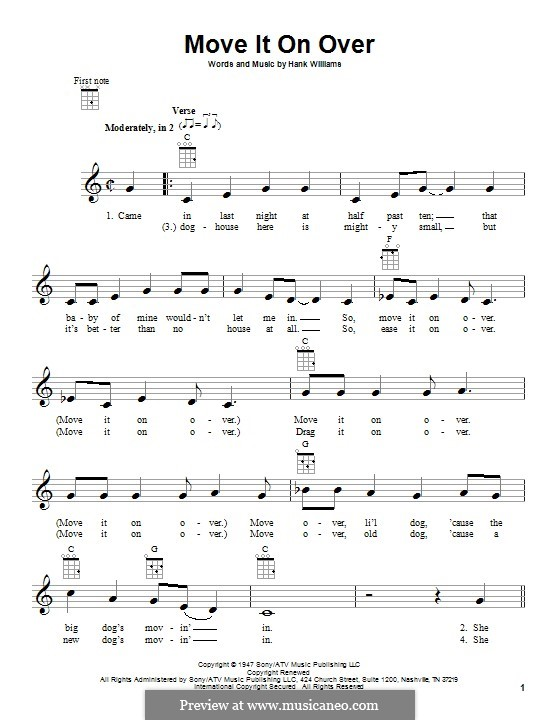 Move It on Over: For ukulele by Hank Williams