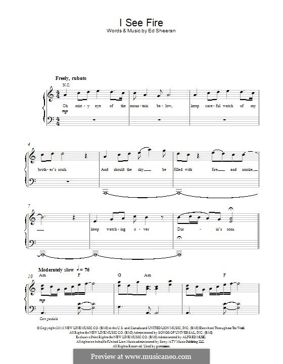 I See Fire (from The Hobbit): For piano by Ed Sheeran