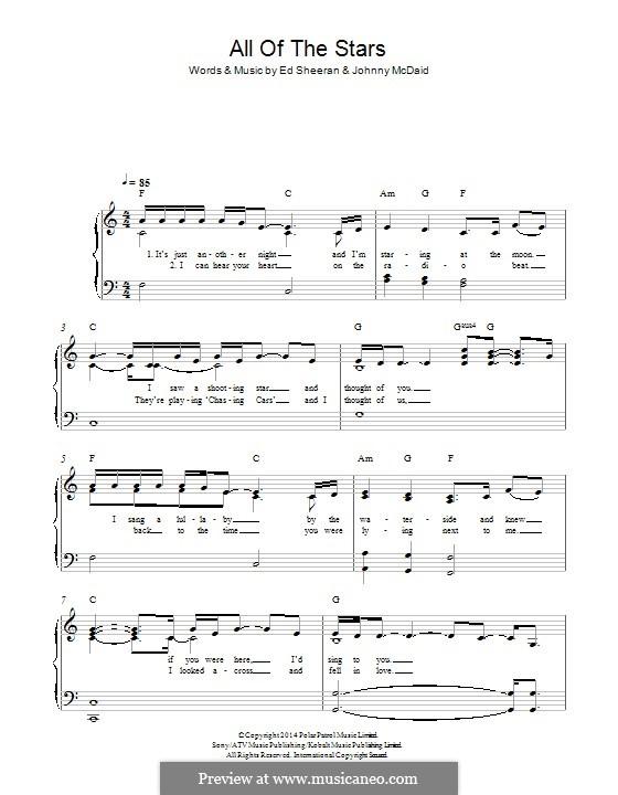All of the Stars: For piano by Ed Sheeran, John McDaid