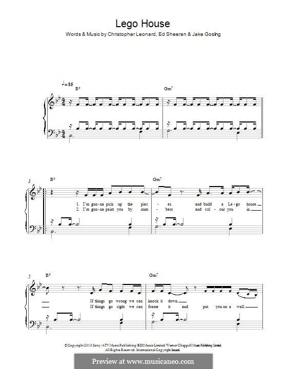 Lego House: For piano by Ed Sheeran, Christopher Leonard, Jake Gosling
