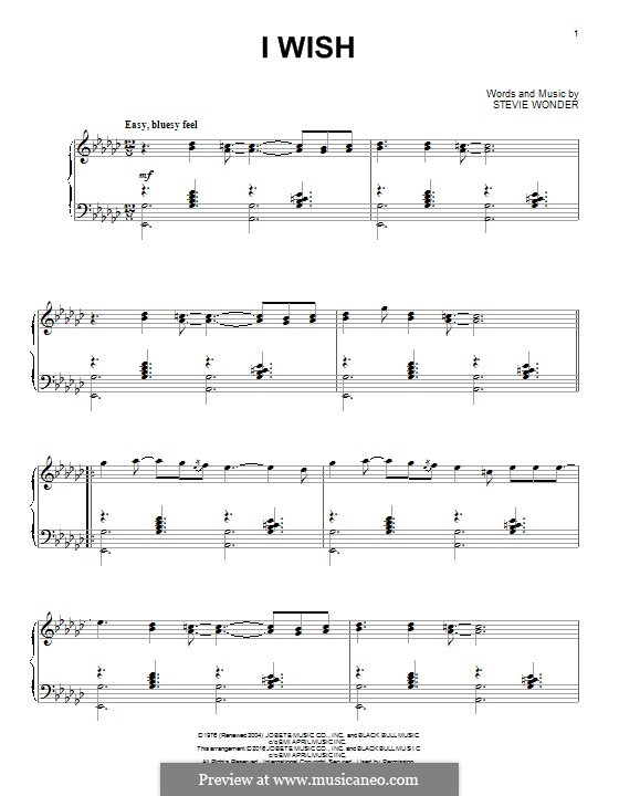 I Wish: For piano (jazz version) by Stevie Wonder