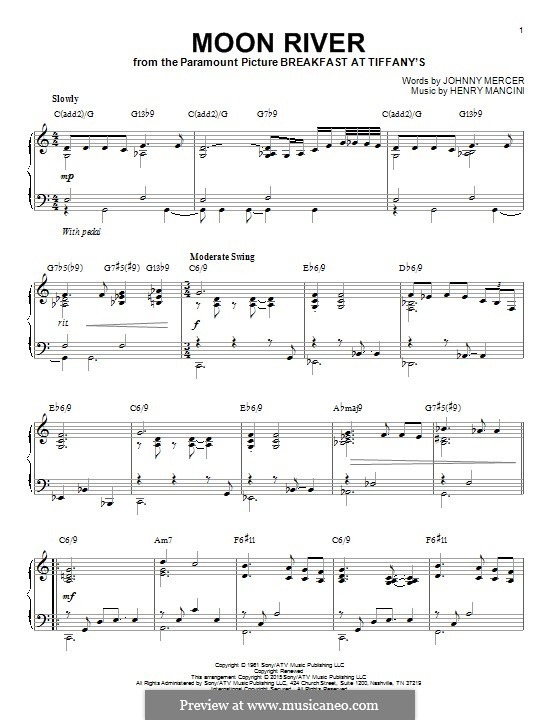 Moon River, for Piano: For a single performer by Henry Mancini