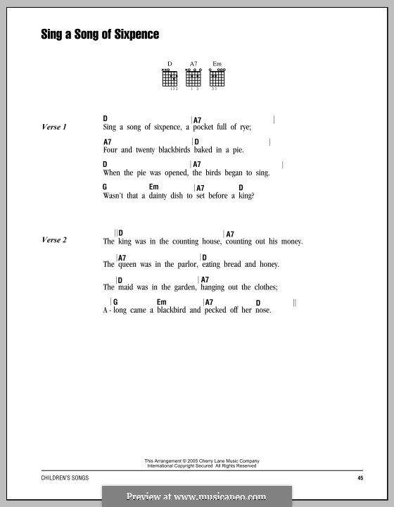Sing a Song of Sixpence: Lyrics and chords by folklore